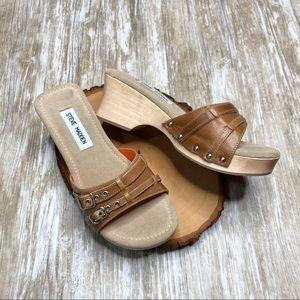STEVE MADDEN Brat Leather Wooden Clog Sandal 90's